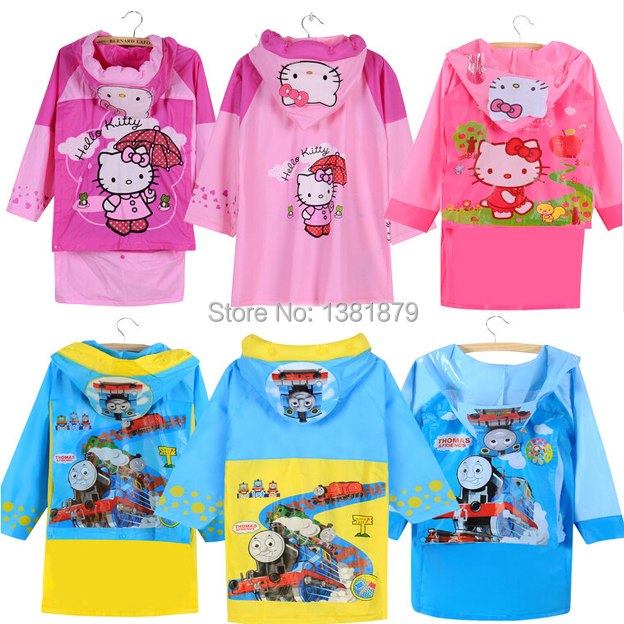 New Kids PVC Rain Coat children Raincoat Rainwear/Rainsuit,hello kitty design Raincoat suit for90-155cm(China (Mainland))