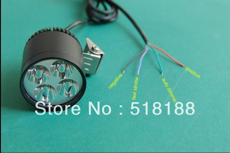 Free shipping 1set LED Spotlight 30W 4*Cree XML T6 motorbike led headlamp motorcycle front light with automatic dimming&flashing(China (Mainland))