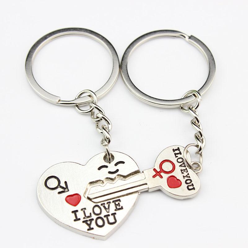 Big Sale I LOVE YOU 2 Pcs New Style Heart Key Chain Birthday Valentine Gift Romantic Fashion Jewelry(China (Mainland))