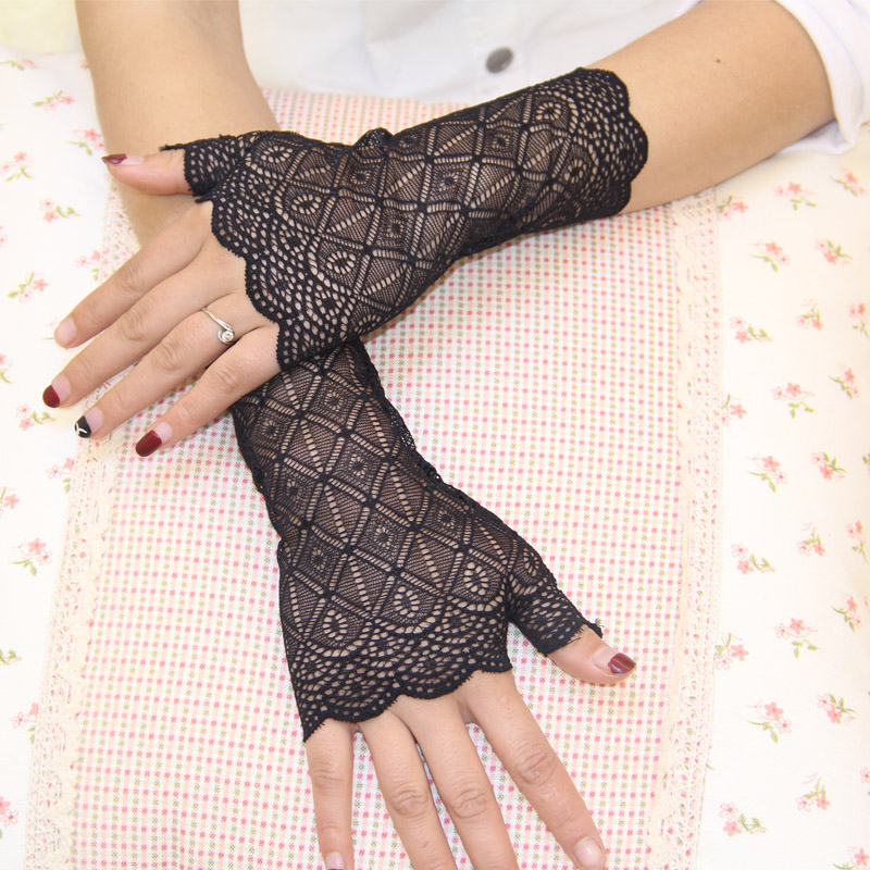 2015 spring and summer womens sunscreen short gloves fashion sexy fingerless lace semi-finger driving gloves
