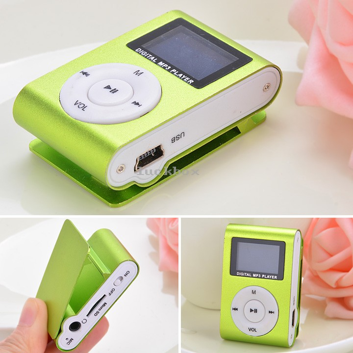 2014 New Hot Sale Sport Mini Clip Mp3 Player Portable Digital Music Player FM Radio With Screen Support 32GB Green 51(China (Mainland))