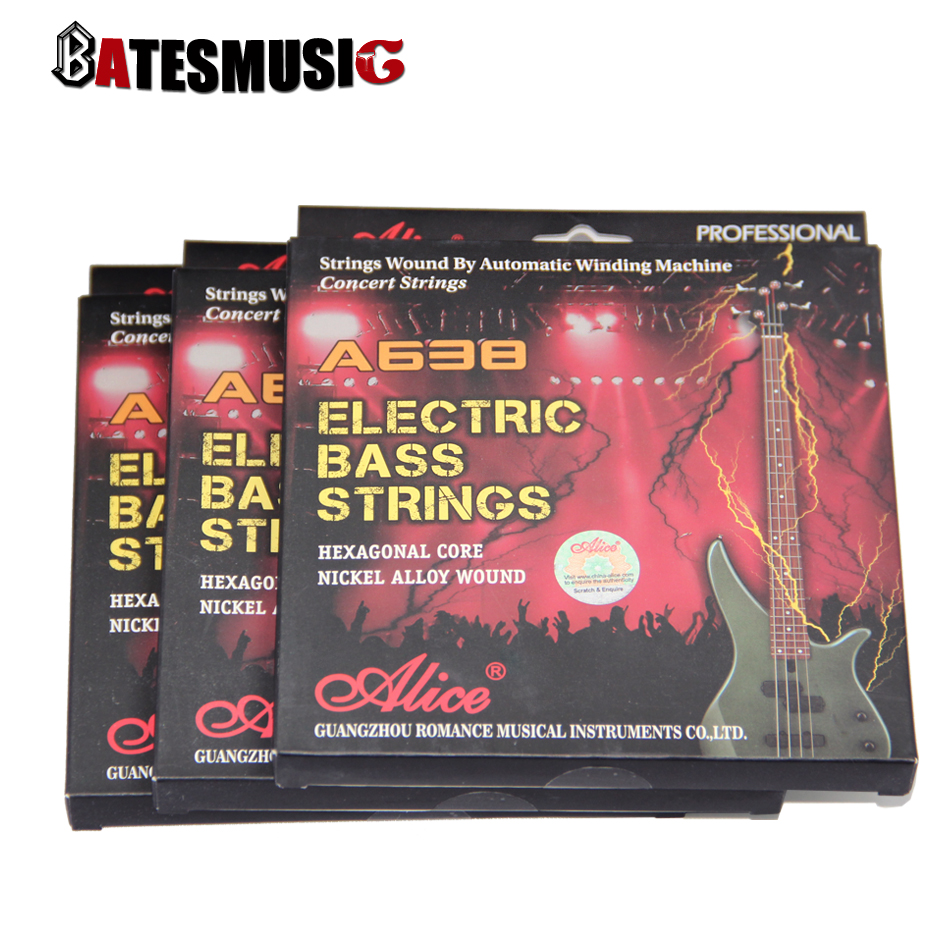 Electric Bass Strings ALICE 045-105 Hexagonal Core Nickle Alloy Wound Music Wire Set 4pcs/set Bass Guitar Strings(China (Mainland))