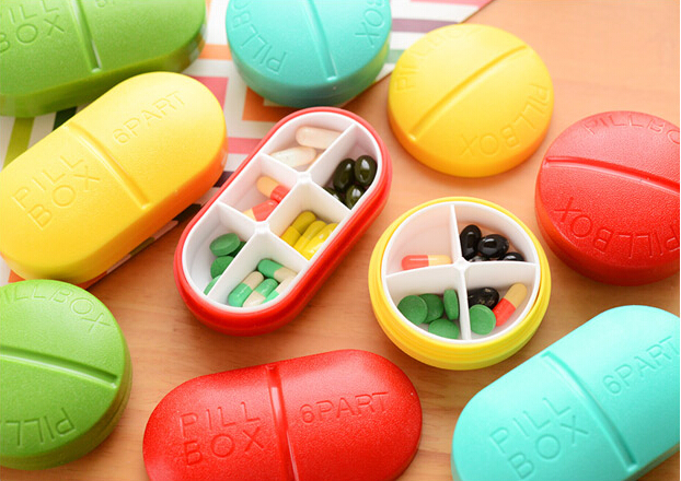 Sweet Candy Color Pill Shape Portable Pill Case Drug Holder Mini Storage Box Retail FOD(China (Mainland))