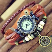 New Best Selling Women Genuine Leather Bracelet Watch Women Dress Watches leaf Pendant Vintage Quartz Analog WristWatch No.19