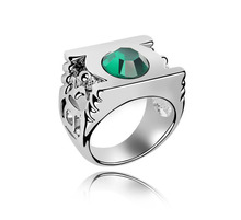 Green lantern stainless steel ring jewelry high quality crystal ring
