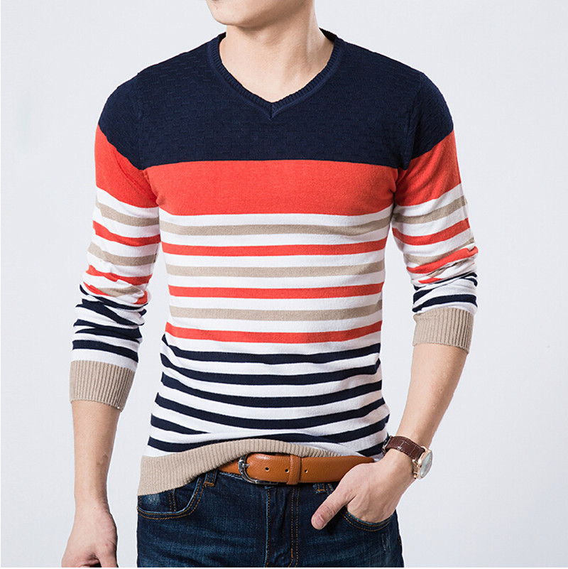 2015 High Quality Casual Sweater Men Pullovers Brand winter Knitting long sleeve v-Neck slim Knitwear Sweaters size M-XXL(China (Mainland))