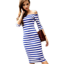 Buy Sexy Women Summer Dress Stripes 2017 Midi Party Dresses Vestidos Half Sleeve Shoulder Bodycon Pencil Ukraine Dress Spring for $7.66 in AliExpress store