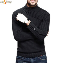 Mens Knitting Sweaters And Pullovers Covered Button Turtleneck Clothing Sweater For Man Agasalho Masculino Pull Sueter Hombre(China (Mainland))