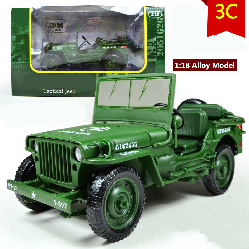 World War II Willys tactics Jeep cars,High quality 1:18 Alloy Military Model,Diecast toys,Metal jeeps,free shipping(China (Mainland))
