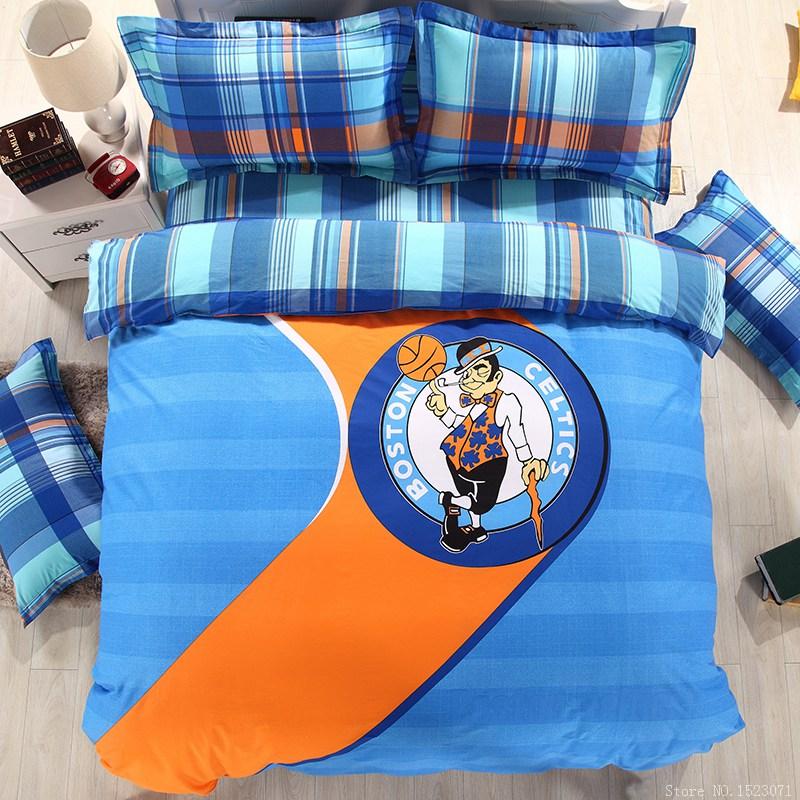 Unique blue sport plaid sheets duvet covers spanish style bedding queen bedding sets cotton bed linen sheet sets(China (Mainland))