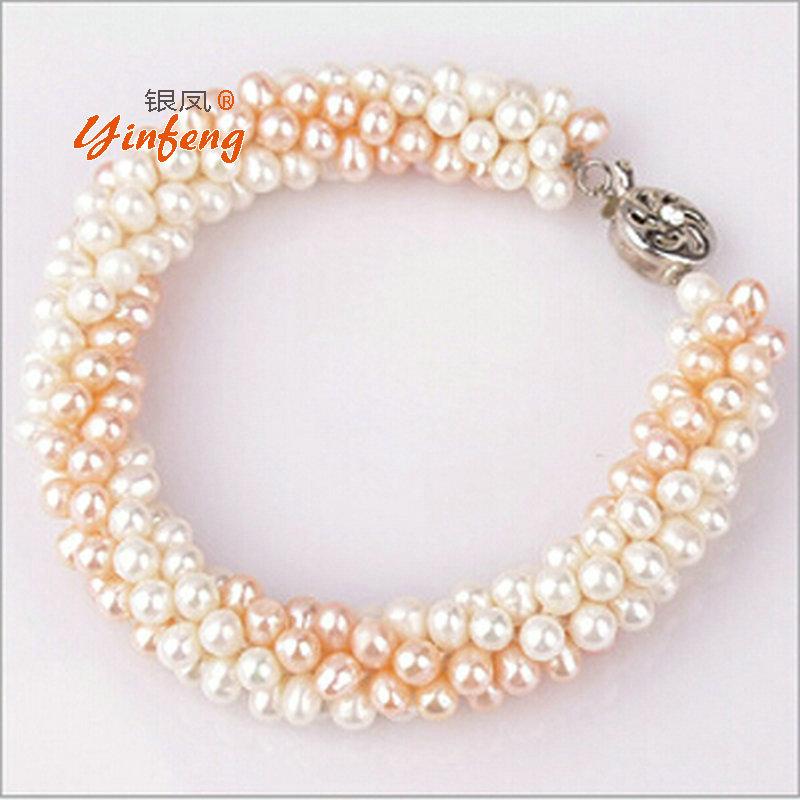 100% Natural Freshwater Pearl Bracelet Fashion design Free shipping(China (Mainland))