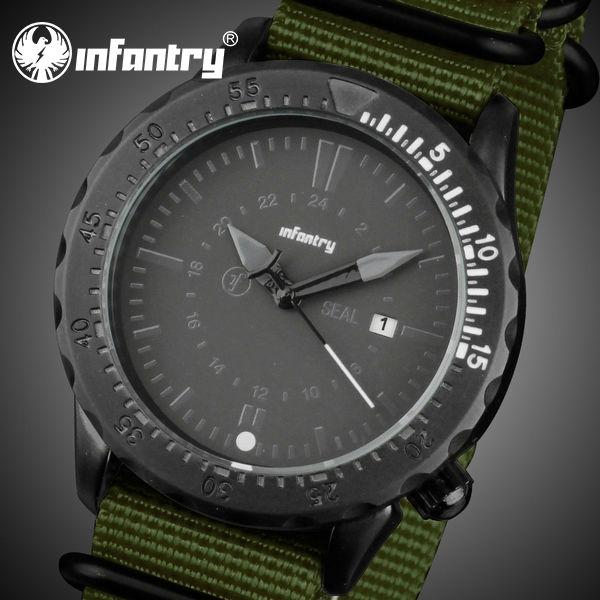 INFANTRY NEW Green Black Sport Man Watches Military Style Date Analog Quartz Men's Outdoor Nylon Band Wrist Watch(Hong Kong)