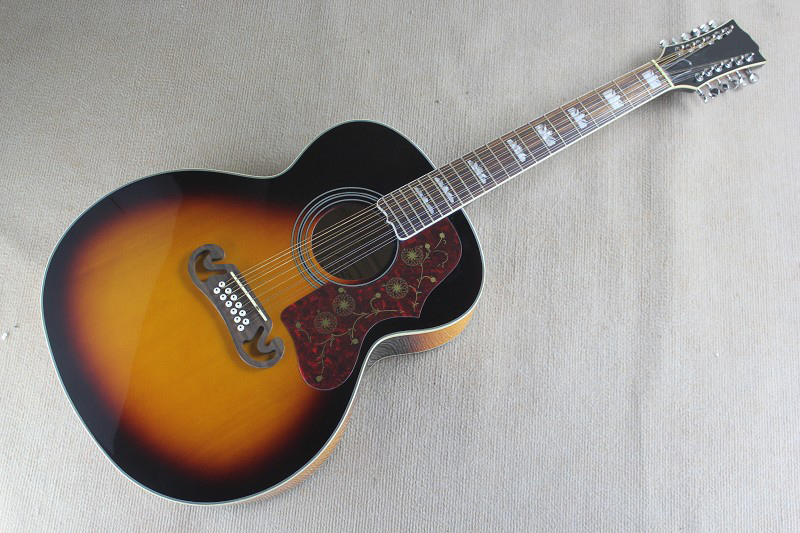 OEM handcrafted sunburst color 43 inch Jumbo guitar,12 string acoustic electric guitar(China (Mainland))