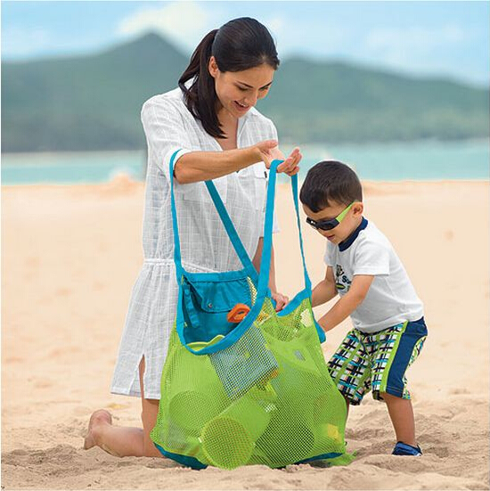 2015 Large Space mesh bags Children Beach Sandy Toy Collecting Bag Toys Clothes Towel outdoor shoulder Bags baby handbag totes L(China (Mainland))