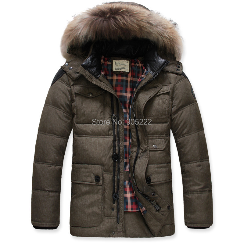 Fashion Mens Outwear Real Fur Hooded Collor Thicken Jacket Warm Coat Winter Outdoor White Duck Parka - Aooyue Store store