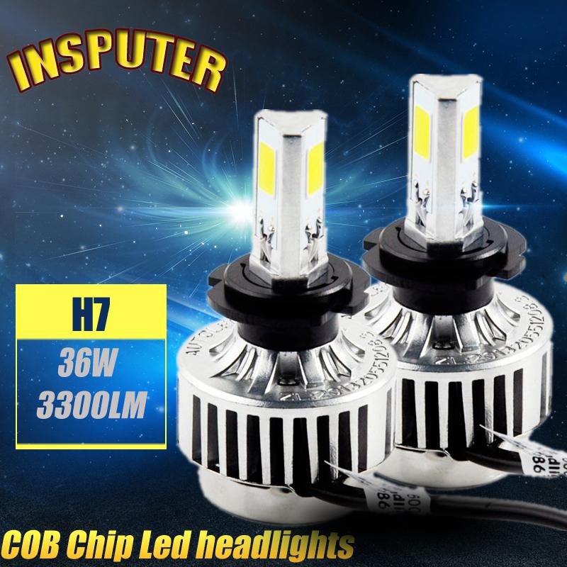 Hot Sales 1Set H7 Replace LED Headlight Kit Bulb 3000k 6000K COB led chip single Beam lights 72W 6600lm 12V fast delivery(China (Mainland))