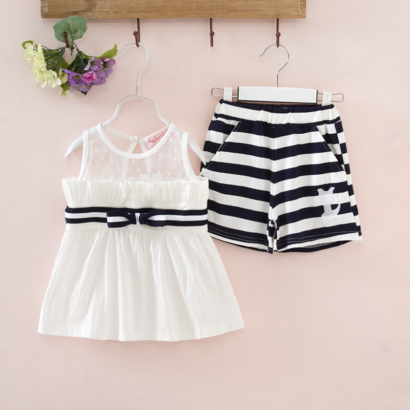 2016 Toddler Girls Clothing Suit Cute Girl Clothes Summer Vest Kids Girls + Shorts 2 Pieces Baby Stripe Set Kids Children`s Suit(China (Mainland))