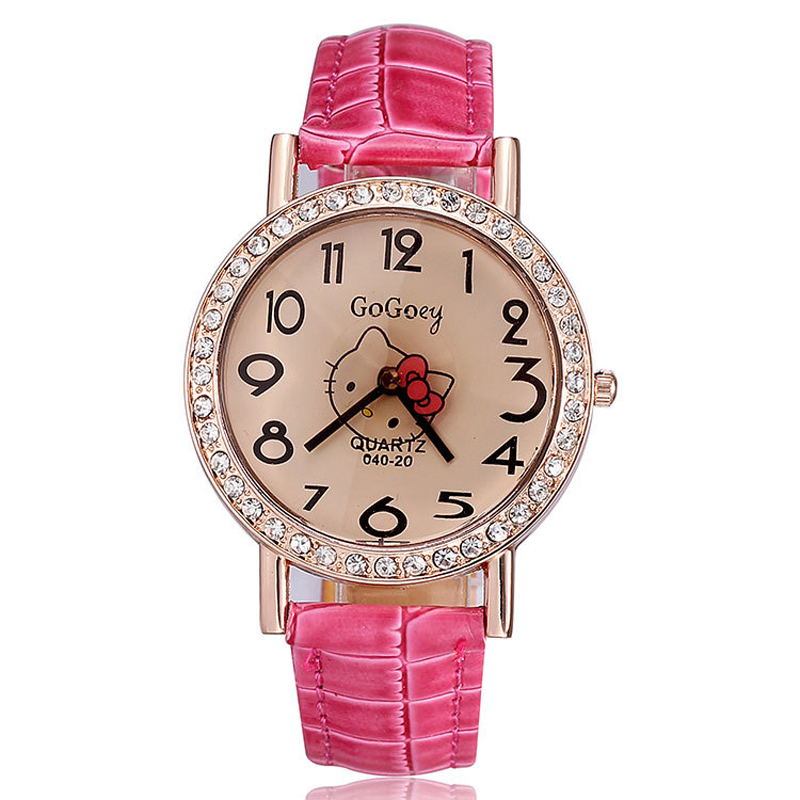 Hot Sale Hello Kitty Watch PU Leather Strap Analog Quartz Watch Ladies Rose gold Casual Watches GoGoey Women Dress Watches(China (Mainland))