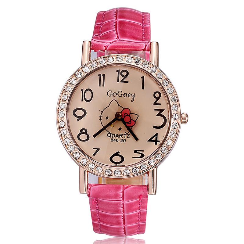 Hot Sale Hello Kitty Watch PU Leather Strap Analog Quartz Watch Ladies Rose gold Casual Watches GoGoey Women Dress Watches(China (Mainland))
