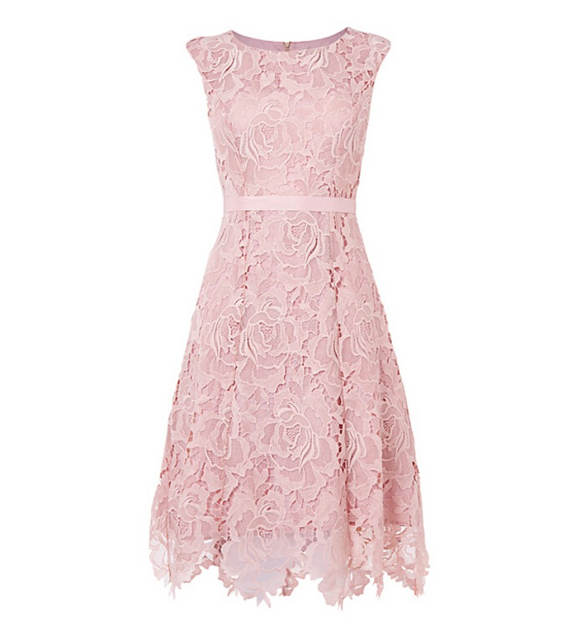 New style cheap lace bridesmaid dress knee length high for Pink lace wedding dresses
