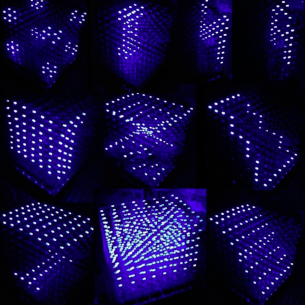 1pcs 3D Squared DIY Kit 8x8x8 3mm LED Cube White LED Blue/Red Light PCB Board new arrival(China (Mainland))