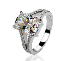 BONZER fabulous jewelry 3.85ct 18K Gold Plated Dream Angels 925silver Synthetic Diamond wedding rings for women promotion(China (Mainland))