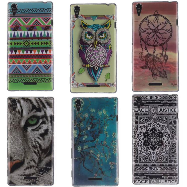 Soft TPU Painted phone case For Sony Xperia T3 Ultra thin Cartoon Protector back cover for Sony xperia t3 Mobile phone housing(China (Mainland))