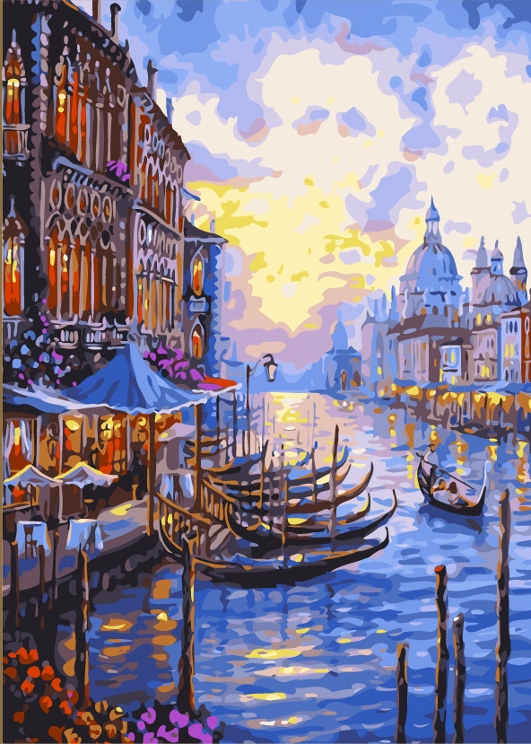 Free Shipping Arcylic Paint Unique Gift Canvas Art Frameless DIY Digital Oil Painting 40X50cm Venice Afterglow Painting On Wall(China (Mainland))