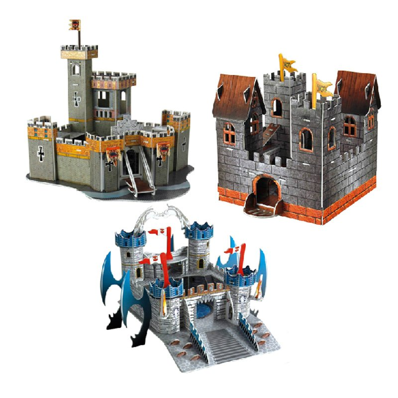 2015 Freeshipping Woodcraft Construction Kit Castle Kids Paper Model Game Building Toy(China (Mainland))