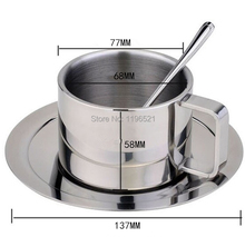 Three piece fation stainless steel coffee cup set stirring spoons plates mug drinkware tea cup 190