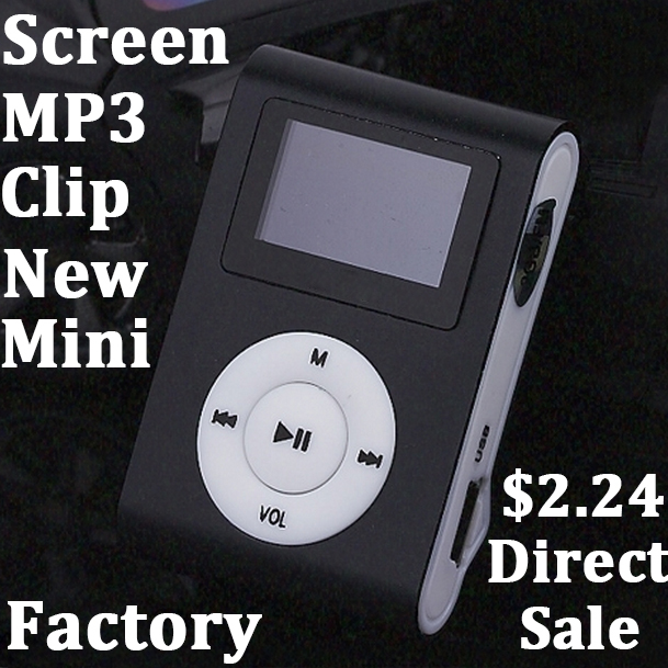 New Portable MP3 LCD Screen Clip MP3 Player With TF Card Slot high quality Electronic Products sport Metal mini MP3 (only a Mp3)(China (Mainland))