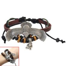 6.3x2.6cm Eagle Charm Wooden Beads Gothic Bracelet Punk Bangle Multi Layers(China (Mainland))