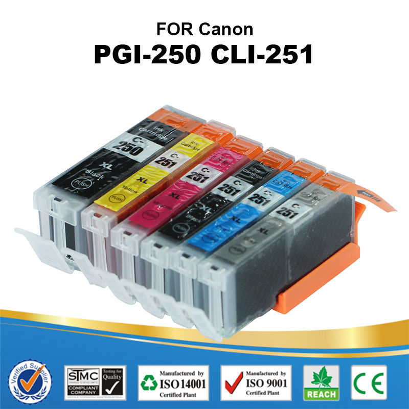 6 PK PGI 250 CLI 251 Ink Cartridge with Chip for Canon PGI-250XL CLI-251XL for Canon MG5422/MG6320/MG6420/MG7120/ IP7220(China (Mainland))