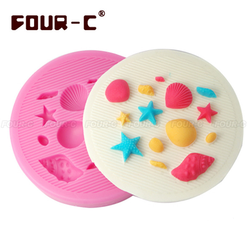 FOUR-C 3D Seashore Sugarcraft Mold Kitchen Baking Cake Fondant Silicone Modelling Craft Bakeware Cookies Biscuit Mould Tool(China (Mainland))