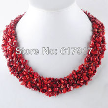 """Free Shipping Jewelry 4x8mm Red Coral Chip Beads Weave Necklace 17 1/2 """" 1pcs TH070(China (Mainland))"""