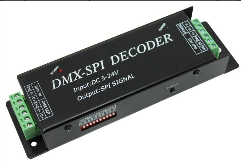 DMX200DMX- SPI decoder,can choose your required IC by the dip switch,support 10 kinds of different pixel IC DC5V~24V(China (Mainland))