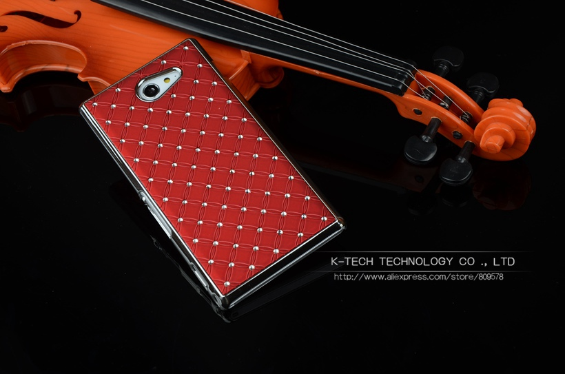 Shining Rhinestone Diamond Rubberized Matte Cover With Silver Chromed Skin Case For SONY XPERIA M2 Aqua S50h Mobile Phone Bags