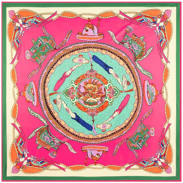 130 см * 130 см 100% чистого шелка евро марка женщин в стиле китайского традиционного Dradon напечатаны шелковая косынка мода платки