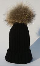 2014 Fashion Children Winter Raccoon Fur Hats 100% Real 15cm Fur pompom Beanies Cap Natural Fur Hat For Kids Children(China (Mainland))
