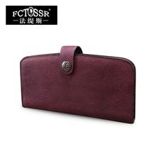 2016 vintage handmade first layer of cowhide solid color lock wallet brief envelope bag day clutch long design
