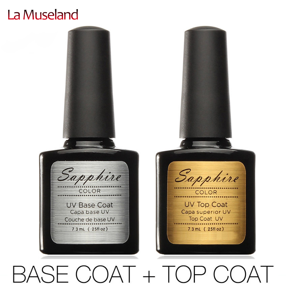 2pcs/lot Sapphire Diamond Nail Gel Top Coat Top it off + Base Coat Foundation for UV Gel Polish 7.3ml #24004(China (Mainland))