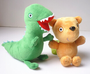 "2015 New 2pcs Plush Doll Stuffed Toy Bear& dinosaur shipping to Brazil and drop shippingROGE Dinosaur 6.5""(17cm) fre(China (Mainland))"