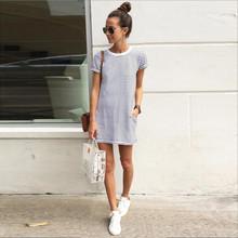 2016 Hot Sale, New Fashion Women Dresses Sexy Women Casual Loose Striped Party Bodycon Mini Dress OL Shopping Vestido(China (Mainland))