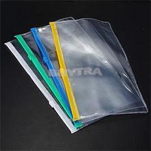 New 1Pc A6 Transparent Plastic Colorful Zipper Paper File Folder Book Pencil Pen Case Bag File Document Bags(China (Mainland))