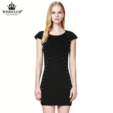 WISHCLUB 2015 New Fashion Summer style Women Casual vestidos Party Dress Short Sleeve Black Sexy Rivet Dresses