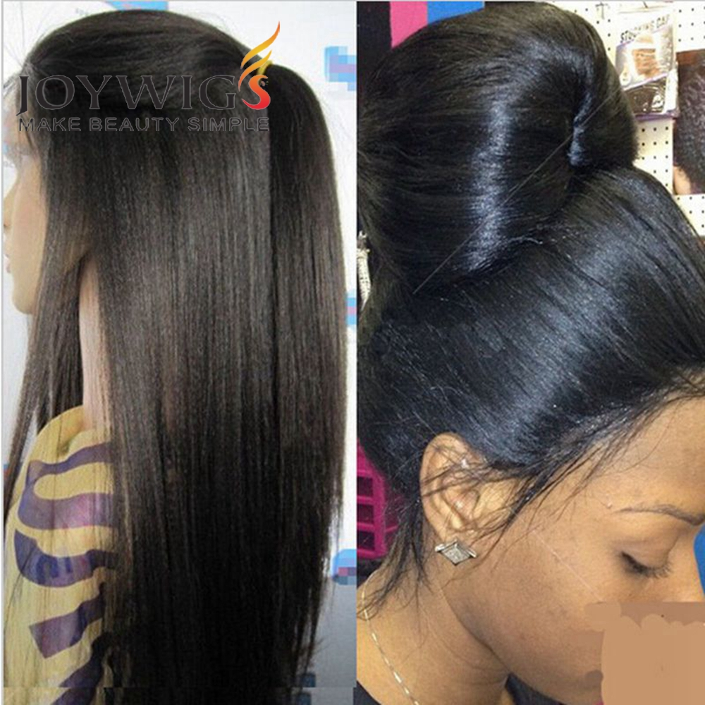 2016 Wholesale Full Lace Wigs Light Yaki Brazilian Virgin Hair Full Lace Human Hair Wigs Yaki Straight For Black Women(China (Mainland))