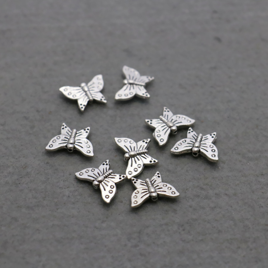 10PCS Hot Butterfly Hardware Metal parts Fittings for DIY 11*16mm Jewelry Design Making components Findings Silver-plate beads(China (Mainland))