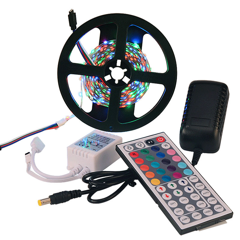 rgb 3528 led strip smd 5m 300leds light 60led/m non waterproof strips +12v 2a power supply + 44 keys IR Remote controller RS10(China (Mainland))