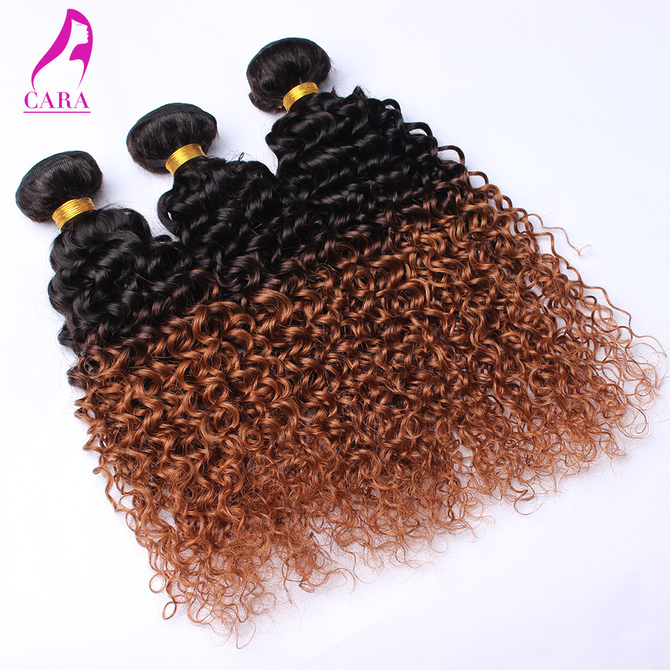 Brazilian Kinky Curly Ombre Hair Extensions 3Pcs Lot 6A Rosa Hair Products Ombre Brazilian Hair Weave Bundles 1B/30 Two Tone