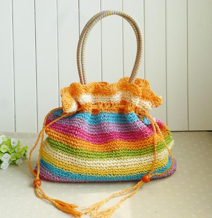 B0062 2014 colorful candy stripe Crochet woven straw bag ...
